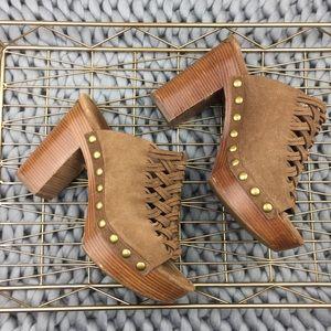 Michael Kors women's Tan thick heel clog mules